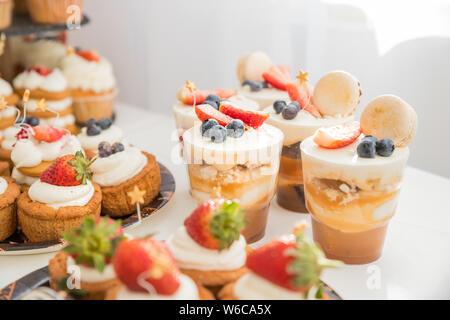 Buffet de bonbons avec souffle blanc dans les verres.délicieux buffet avec gâteaux, verres et autres desserts tiramisu.gâteaux aux fruits pour les vacances.Candy Bar Banque D'Images