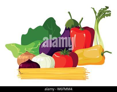 Spaghettis de légumes frais laitue Aubergine Poivron vector illustration Banque D'Images