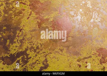 Grunge fond vert fer rouillé. Ancienne plaque de métal rouillé et corrodés. Banque D'Images