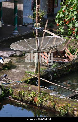 L'antenne satellite dans le village d'Indonésie