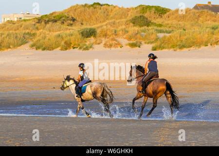 Enfant et de la femme à cheval galopant en eau peu profonde sur une plage de sable en été le long de la côte de la mer du Nord en Belgique