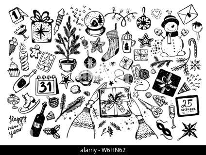 Sketchy vector cartoon doodle dessiné à la main ensemble d'objets et de symboles sur le Nouvel An et Noël. Un grand nombre d'éléments de fête pour les cartes de vœux, design, décoration, loisirs, scrapbooking.