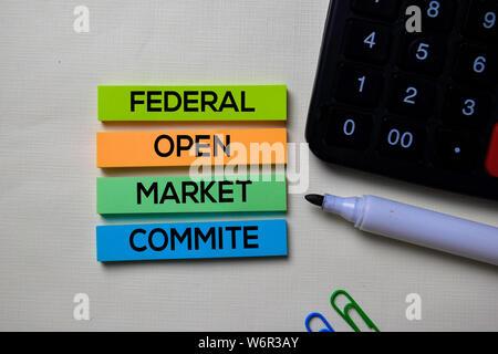 Federal Open Market Commite du FOMC - texte sur les notes isolées sur office 24