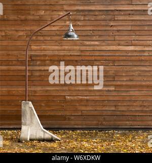 L'automne à l'extérieur, l'intérieur. Luminaires, lampes de plancher inhabituelle. Éclairage design moderne. Style extérieur rustique. Design extérieur contemporain. Concept d'éclairage extérieur moderne. Humeur mélancolique Banque D'Images