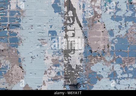 Résumé fond d'un vieux mur de briques avec taches expressives en gris et bleu. Modèle inimitable Banque D'Images