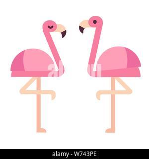 Flamingo Des Oiseaux Exotiques Flamant Rose Deux Plats