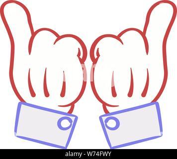 Deux mains mains Cartoon 'dope'. Banque D'Images