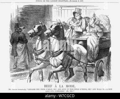 """Bœuf à la mode', 1867. Artiste: John Tenniel"