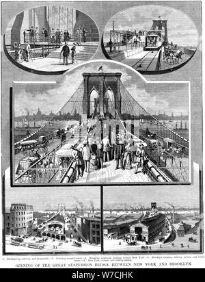 Le Pont Suspendu de Brooklyn, New York, 1883. Artiste: Inconnu