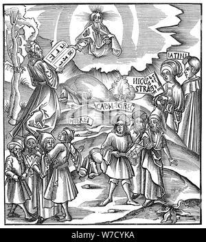 Langues: Moïse recevant de Dieu les tables de la loi en hébreu, 1512. Artiste: Inconnu