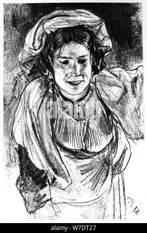 """""""Étude d'une jeune fille italienne', c1880-1882.Artist: Adolph Menzel Banque D'Images"""