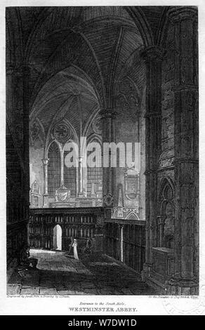 Entrée du côté sud, l'abbaye de Westminster, Londres, 1816.Artiste: Sands Banque D'Images