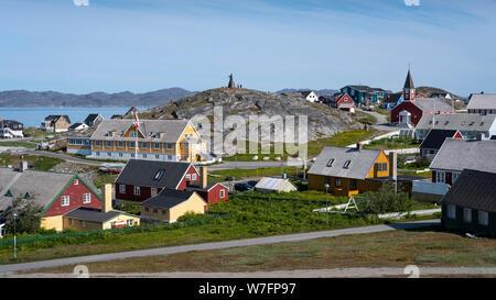 Vieux Nuuk: maisons traditionnelles dans la partie ancienne de Nuuk, capitale du Groenland. Banque D'Images