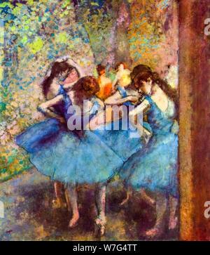 Edgar Degas, les danseuses en bleu, peinture, 1890