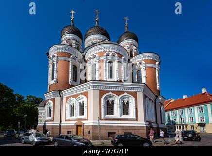 La cathédrale Alexandre Nevsky orthodoxe russe à Tallinn, Estonie le 21 juillet 2019