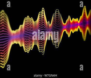 La technologie de reconnaissance vocale ou concept de l'enregistrement sonore: multicolore des ondes sonores. Résumé La visualisation de l'intelligence artificielle ou big data. L'audio Banque D'Images