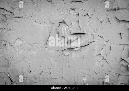 Arrière-plan avec effet crépitant copie haute résolution Vue de dessus de l'espace. Libre de peinture craquelée sur mur. noir et blanc. Banque D'Images
