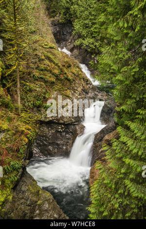 Upper Twin Falls au début du printemps, Twin Falls Natural Area dans le parc régional d'Olallie, North Cascades, près de North Bend, Washington, États-Unis Banque D'Images