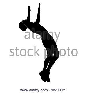 L'homme effectue un saut avec une silhouette flip Banque D'Images