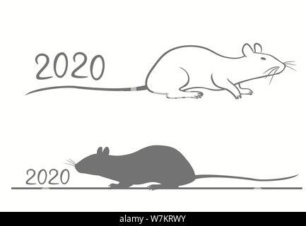 Le Nouvel An chinois carte de souhaits pour 2020 ans. Banque D'Images