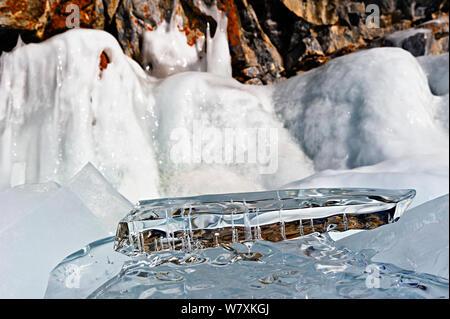 Formations de glace sur le lac Baïkal, Sibérie, Russie, mars 2012. Banque D'Images