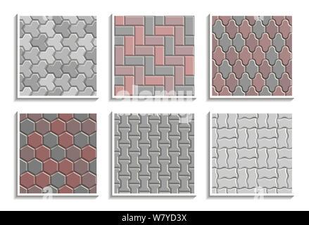 Ensemble de la chaussée sans textures. Une répétition de motifs vectoriels de street 600x600 Banque D'Images