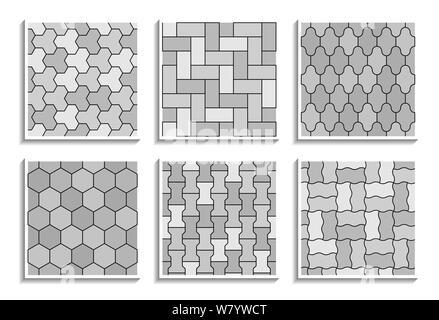 Ensemble de textures de la chaussée sans couture de gris. Noir et blanc, une répétition de motifs de carreaux de rue Banque D'Images