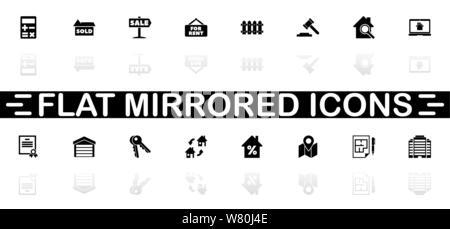 Real Estate icons - symbole noir sur fond blanc. Simple illustration. Icône vecteur plate. Reflet miroir d'ombre. Peut être utilisé dans logo, web, mobil Banque D'Images