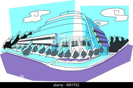 Illustration graphique d'un immeuble de bureaux, entouré d'arbres et nuages Banque D'Images