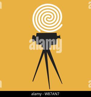 Vector illustration. L'icône de caméra de cinéma et télévision dans un style simple. Banque D'Images