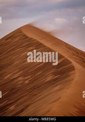 De forts vents soufflent le sable du haut de cette dune de sable en Namibie Banque D'Images