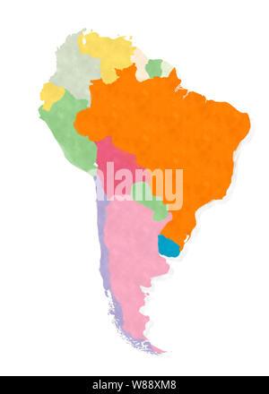 Amérique du Sud carte de l'aquarelles isolated over white background Banque D'Images