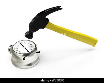 Hammer hitting le réveil, isolé sur blanc. Le rendu 3D Banque D'Images