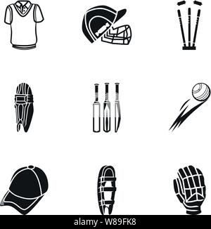 Sport Cricket icon set. Simple jeu d'icônes vectorielles sport cricket 9 pour la conception web isolé sur fond blanc Banque D'Images