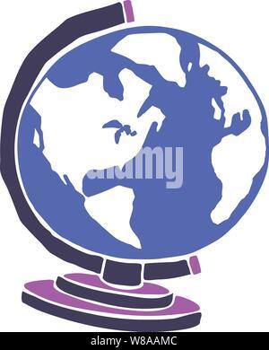 Illustration graphique des awWorld globe stylisé sur un stand aux couleurs vives Banque D'Images