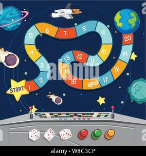 Jeu de société avec de la terre et des planètes dans l'espace illustration Banque D'Images