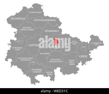 Mis en évidence dans la carte rouge de Weimar de Thuringe, Allemagne Banque D'Images