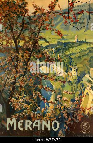 Merano vintage travel poster Banque D'Images
