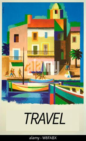 Vintage travel poster art Banque D'Images