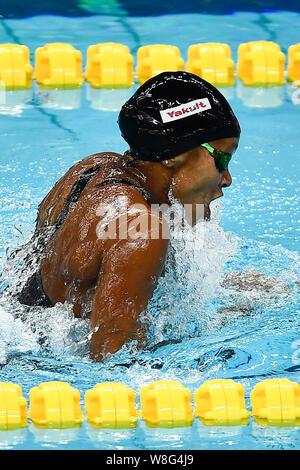 Jinan, Chine, la province de Shandong. 9 Août, 2019. Autres Atkinson de la Jamaïque est en concurrence au cours de la women's 100m brasse lors de la finale de la Coupe du Monde de Natation FINA 2019 à Jinan, province du Shandong en Chine de l'Est, 9 août, 2019. Credit: Guo Xulei/Xinhua/Alamy Live News Banque D'Images