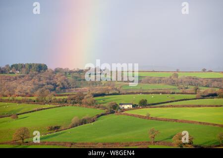 La campagne est allumé sur ce beau matin de dewey à Warwick en Angleterre. La pluie a cessé et un arc-en-ciel se remplit le ciel sous les rayons du soleil vers le bas.