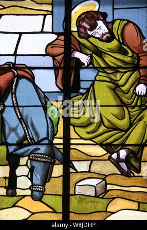 La fuite en Egypte. Eglise Notre-Dame de Lourdes. / La Fuite en Égypte. Église Notre Dame de Lourdes. Chaville. Banque D'Images