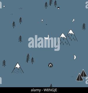 Cute hand drawn seamless pattern avec les tentes de camping, d'incendie, d'arbres et de montagnes. Fond des bois scandinaves créatifs. La forêt. Vector