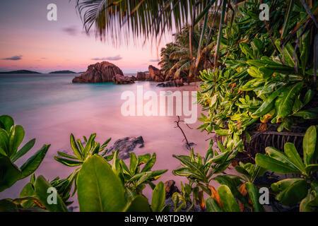Beau coucher de soleil romantique ciel rouge sur les Seychelles Paradise Island. Les roches de granit, palmiers et plage de sable blanc