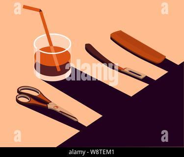 Ensemble d'accessoires de coiffure. Une affiche faite dans un style abstrait. Vector illustration Banque D'Images