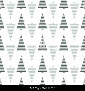 Arbre de Noël transparente monochrome avec motif de couleur gris à rayures épicéas. Banque D'Images