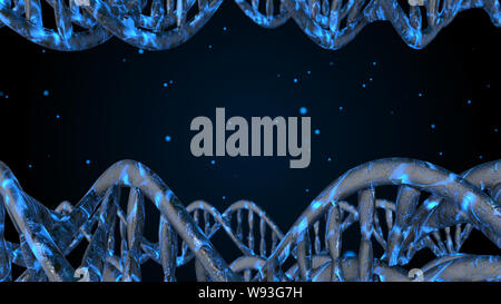 L'ADN. Abstract 3d polygoal wireframe molécules ADN helix spirale. Arrière-plan de la science médicale.
