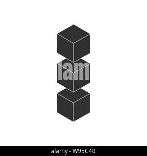 Trois cubes dans la rangée, l'icône de mise en page. L'icône l'icône de couches vectorielles vecteur isolé Banque D'Images