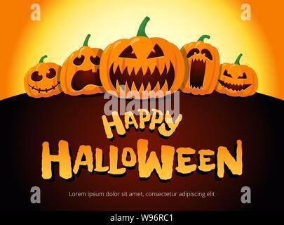 Citrouilles joyeuses fêtes d'Halloween au clair de lune. Jack O Lantern Party on Night fond flou et inscription carte de vœux modèle de conception. Illustration d'invitation de dessin animé vectoriel Banque D'Images