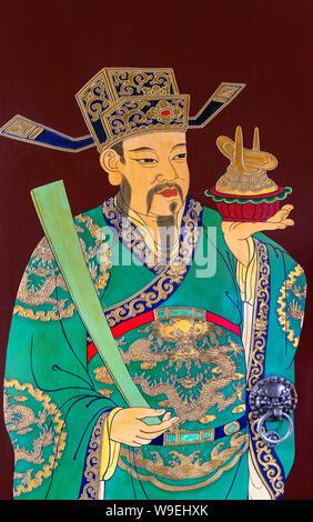 Peinture sur un panneau de porte dans le Temple de la ville dieux (ou Temple de la Cité des dieux), Jardins de Yuyuan, Vieille Ville, Shanghai, Chine Banque D'Images